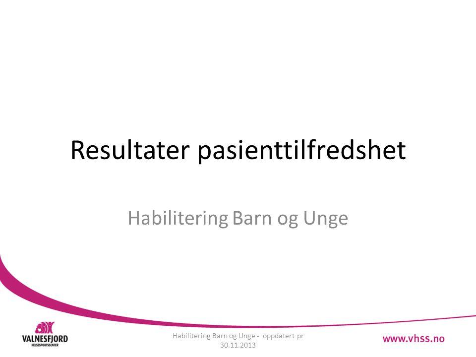 Resultater pasienttilfredshet Habilitering Barn og Unge Habilitering Barn og Unge - oppdatert pr 30.11.2013