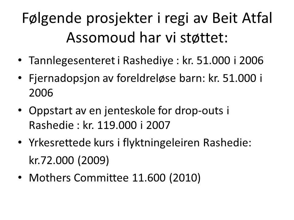 Følgende prosjekter i regi av Beit Atfal Assomoud har vi støttet: Tannlegesenteret i Rashediye : kr. 51.000 i 2006 Fjernadopsjon av foreldreløse barn: