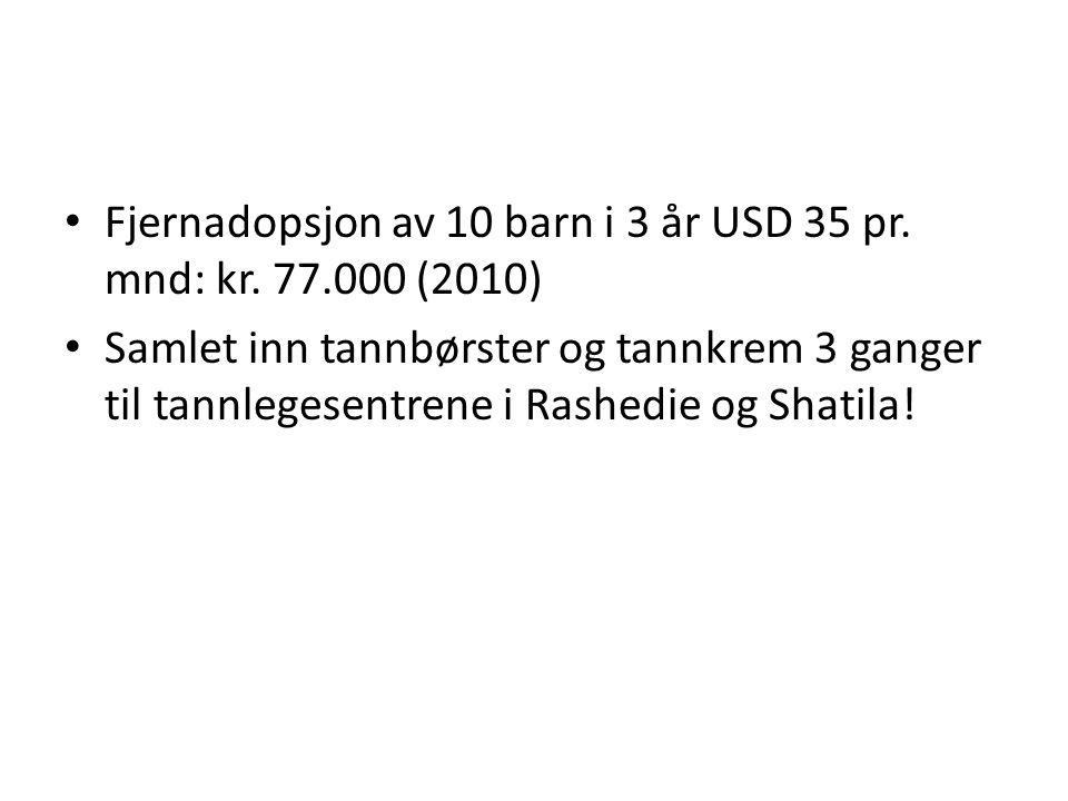 Fjernadopsjon av 10 barn i 3 år USD 35 pr. mnd: kr. 77.000 (2010) Samlet inn tannbørster og tannkrem 3 ganger til tannlegesentrene i Rashedie og Shati