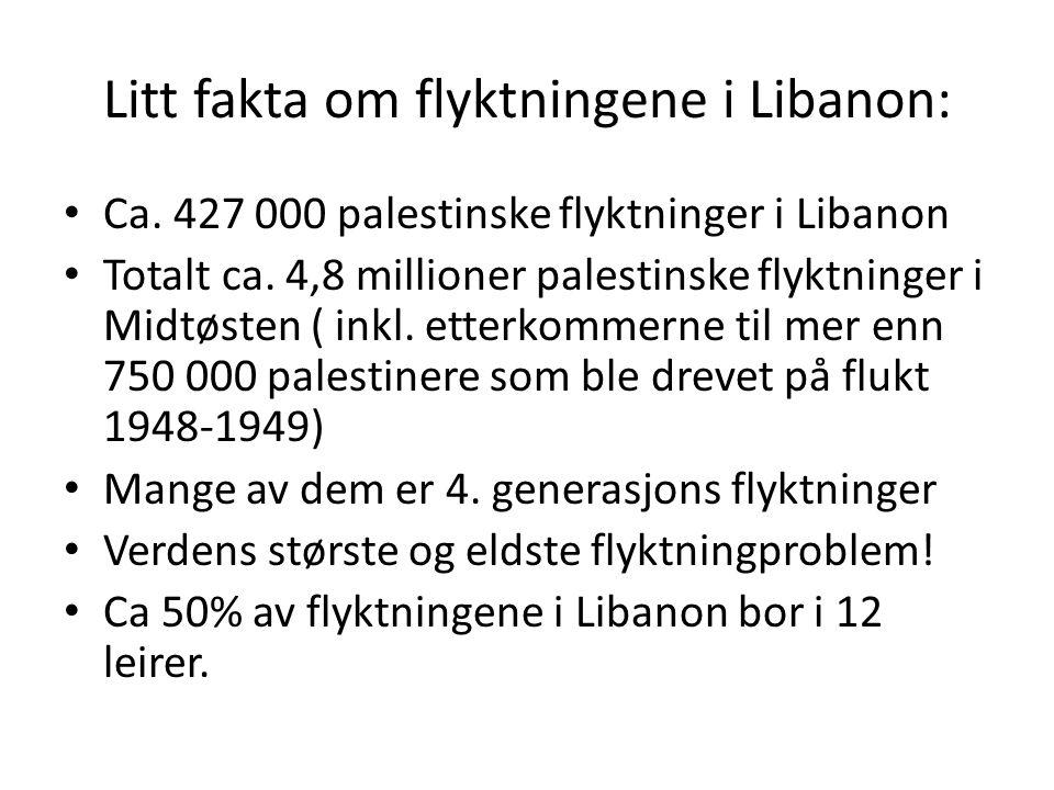 Litt fakta om flyktningene i Libanon: Ca. 427 000 palestinske flyktninger i Libanon Totalt ca. 4,8 millioner palestinske flyktninger i Midtøsten ( ink