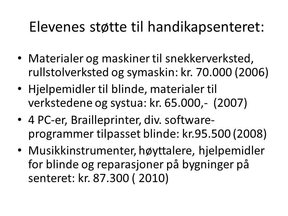 Elevenes støtte til handikapsenteret: Materialer og maskiner til snekkerverksted, rullstolverksted og symaskin: kr. 70.000 (2006) Hjelpemidler til bli