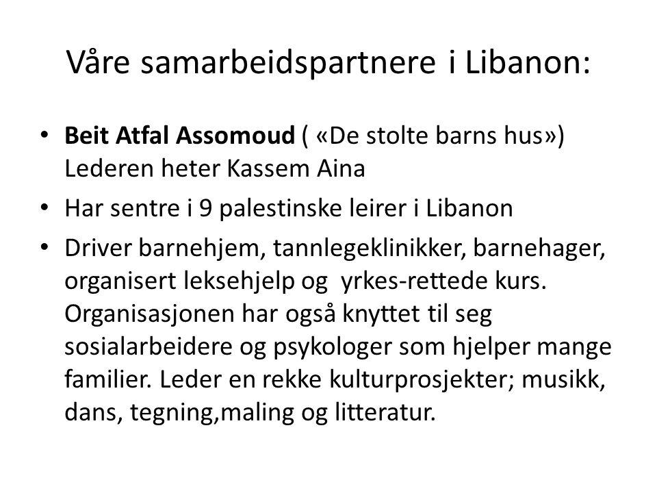 Våre samarbeidspartnere i Libanon: Beit Atfal Assomoud ( «De stolte barns hus») Lederen heter Kassem Aina Har sentre i 9 palestinske leirer i Libanon