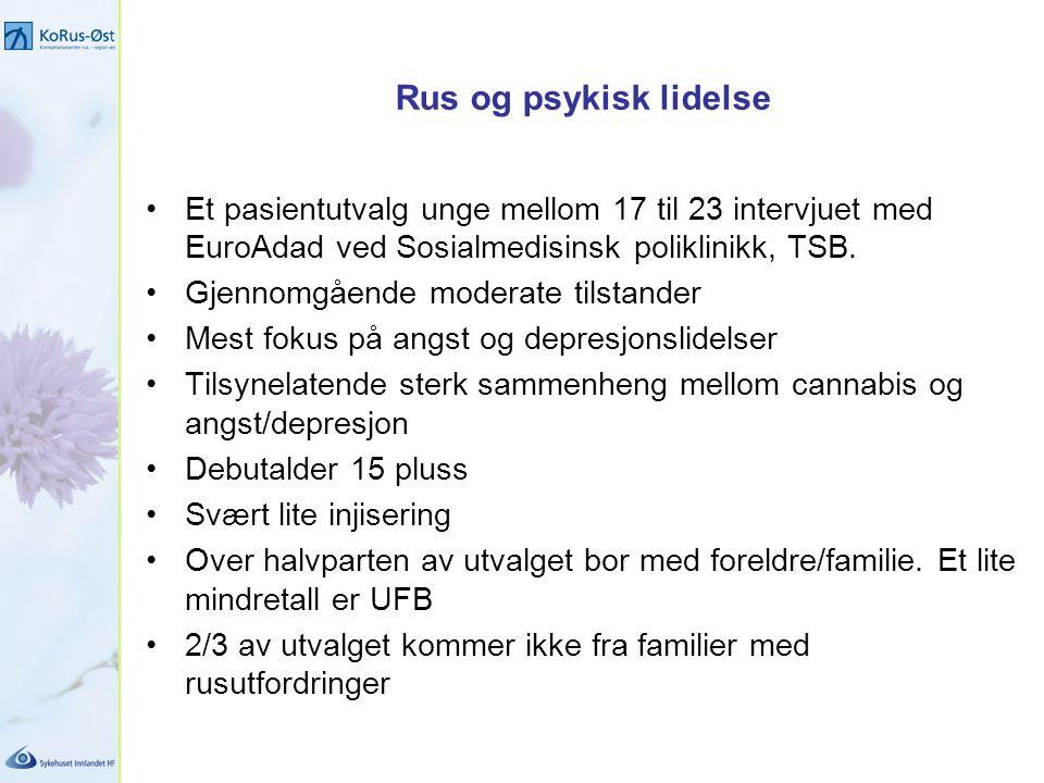 Rus og psykisk lidelse Et pasientutvalg unge mellom 17 til 23 intervjuet med EuroAdad ved Sosialmedisinsk poliklinikk, TSB.