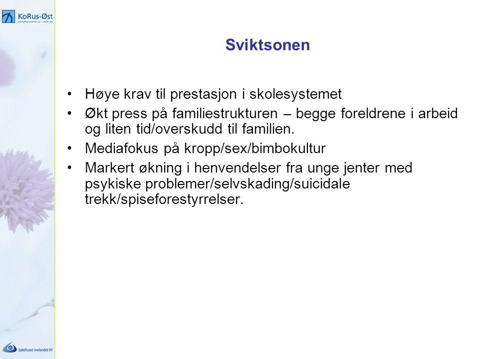 Sviktsonen Høye krav til prestasjon i skolesystemet Økt press på familiestrukturen – begge foreldrene i arbeid og liten tid/overskudd til familien.