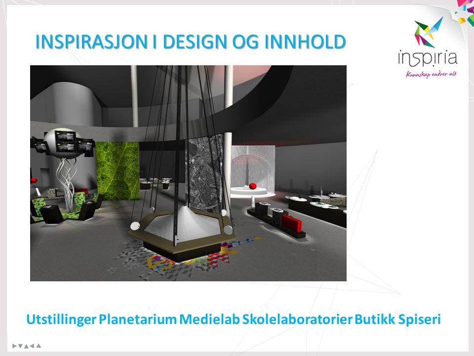 INSPIRASJON I DESIGN OG INNHOLD Utstillinger Planetarium Medielab Skolelaboratorier Butikk Spiseri