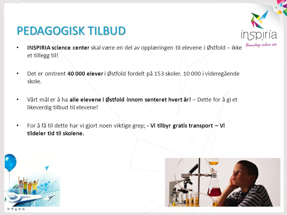 PEDAGOGISK TILBUD INSPIRIA science center skal være en del av opplæringen til elevene i Østfold – ikke et tillegg til.