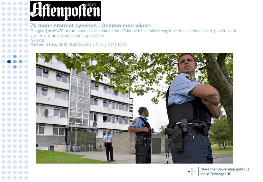 70 menn stormet sykehus i Odense med våpen En gjeng på 60-70 menn raserte akuttmottaket ved Odense Universitetshospital mens de lette etter en pasient som var innlagt med skuddskader og knivstikk.