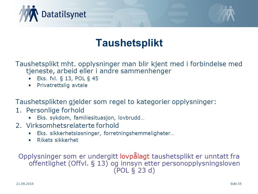 21.09.2016Side 35 Taushetsplikt Taushetsplikt mht.