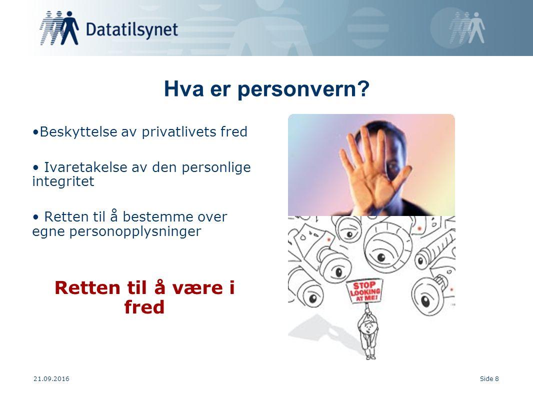 21.09.2016Side 8 Hva er personvern.