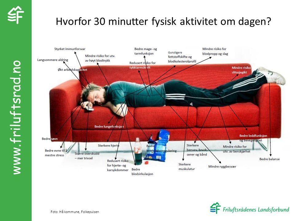 www.friluftsrad.no Foto: Hå kommune, Folkepulsen Hvorfor 30 minutter fysisk aktivitet om dagen