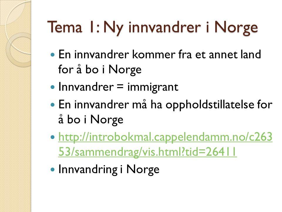 Tema 1: Ny innvandrer i Norge En innvandrer kommer fra et annet land for å bo i Norge Innvandrer = immigrant En innvandrer må ha oppholdstillatelse for å bo i Norge http://introbokmal.cappelendamm.no/c263 53/sammendrag/vis.html?tid=26411 http://introbokmal.cappelendamm.no/c263 53/sammendrag/vis.html?tid=26411 Innvandring i Norge