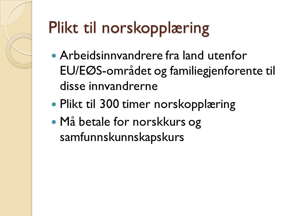 Plikt til norskopplæring Arbeidsinnvandrere fra land utenfor EU/EØS-området og familiegjenforente til disse innvandrerne Plikt til 300 timer norskopplæring Må betale for norskkurs og samfunnskunnskapskurs