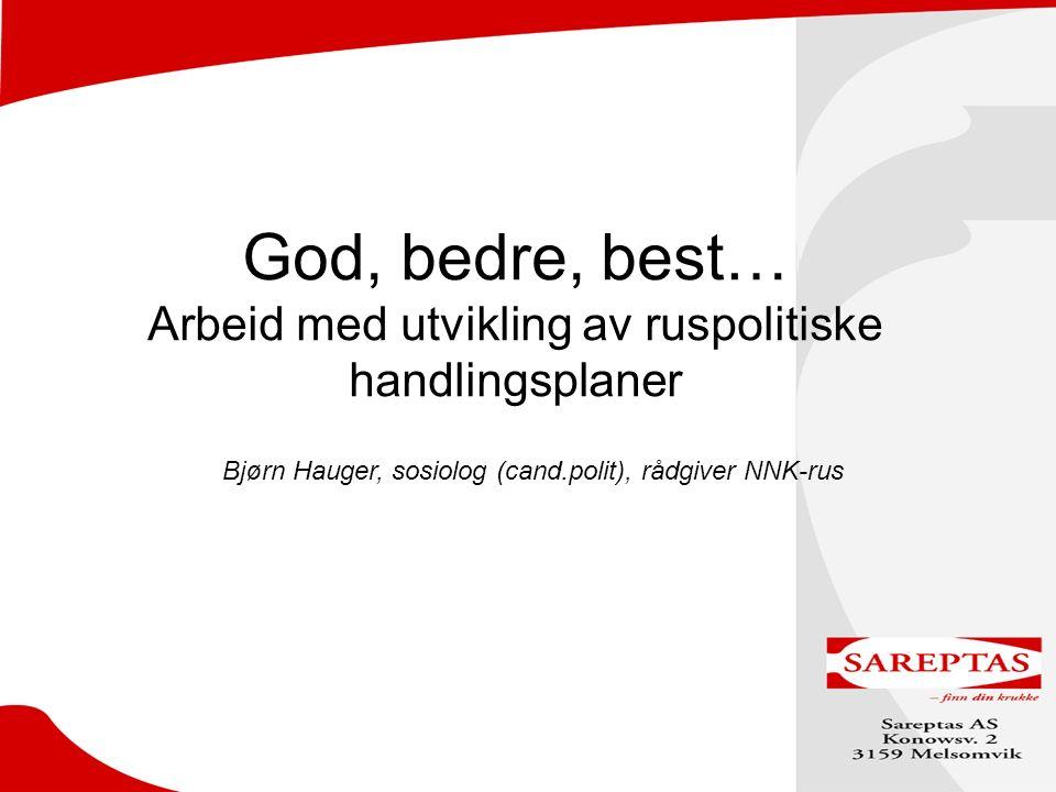 God, bedre, best… Arbeid med utvikling av ruspolitiske handlingsplaner Bjørn Hauger, sosiolog (cand.polit), rådgiver NNK-rus Hva er det ved prosessveiledning som skal bidrar til å utvide kapasiteten…