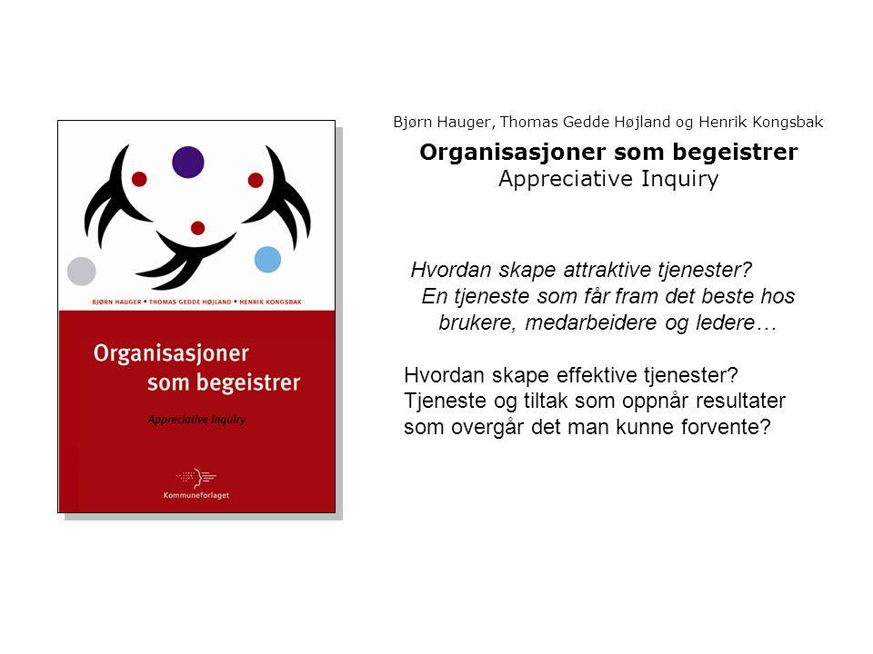Bjørn Hauger, Thomas Gedde Højland og Henrik Kongsbak Organisasjoner som begeistrer Appreciative Inquiry Hvordan skape attraktive tjenester.