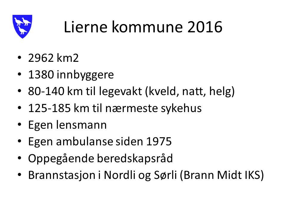 Lierne kommune 2016 2962 km2 1380 innbyggere 80-140 km til legevakt (kveld, natt, helg) 125-185 km til nærmeste sykehus Egen lensmann Egen ambulanse siden 1975 Oppegående beredskapsråd Brannstasjon i Nordli og Sørli (Brann Midt IKS)