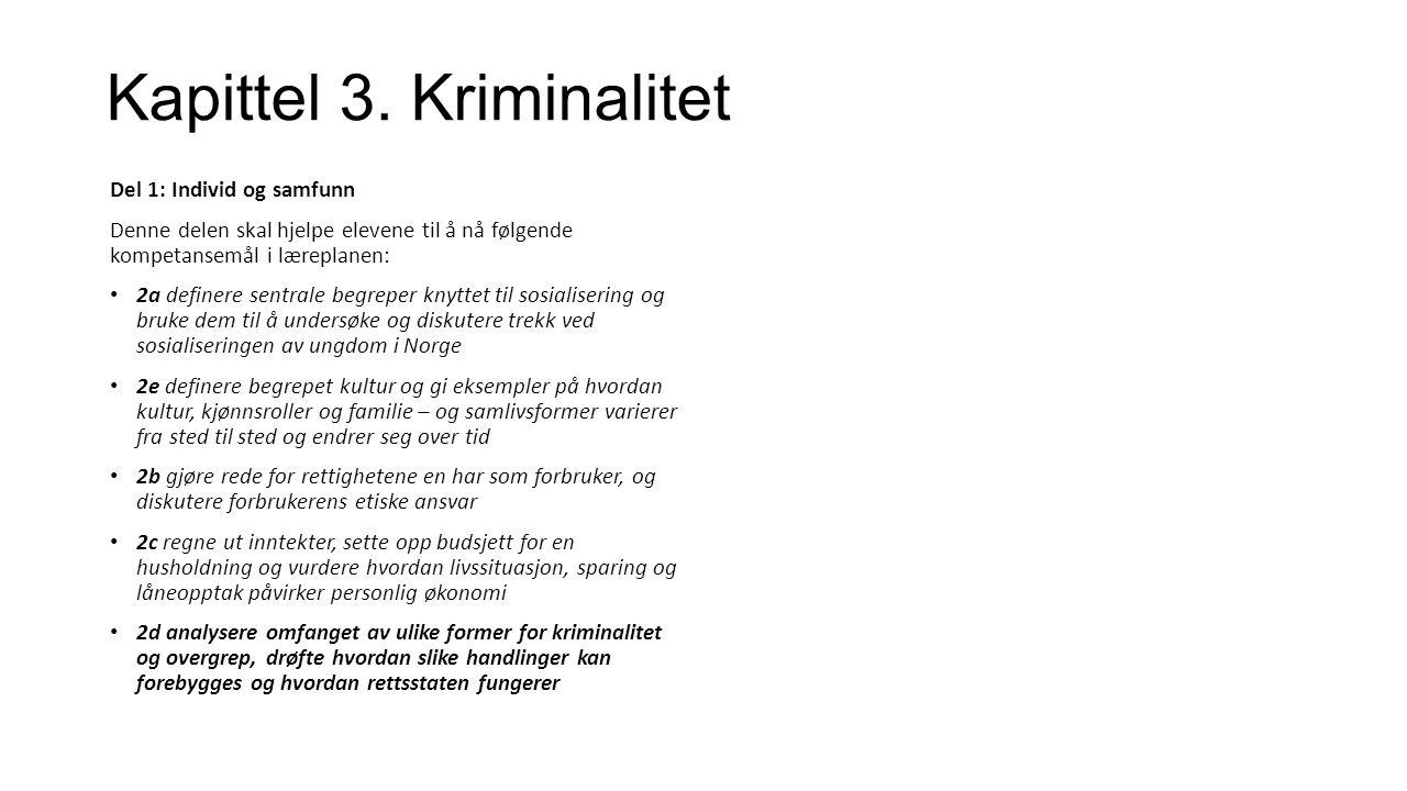Kapittel 3.Kriminalitet Har du selv begått straffbare handlinger.