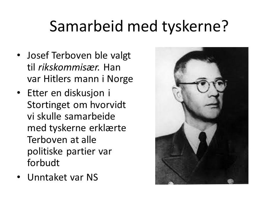 I Norge var omkring 40000 medlemmer av NS Mange samarbeidet med tyskerne Quisling ledet NS http://www.nrk.no/skol e/klippdetalj?topic=nrk: klipp/406266 http://www.nrk.no/skol e/klippdetalj?topic=nrk: klipp/406266