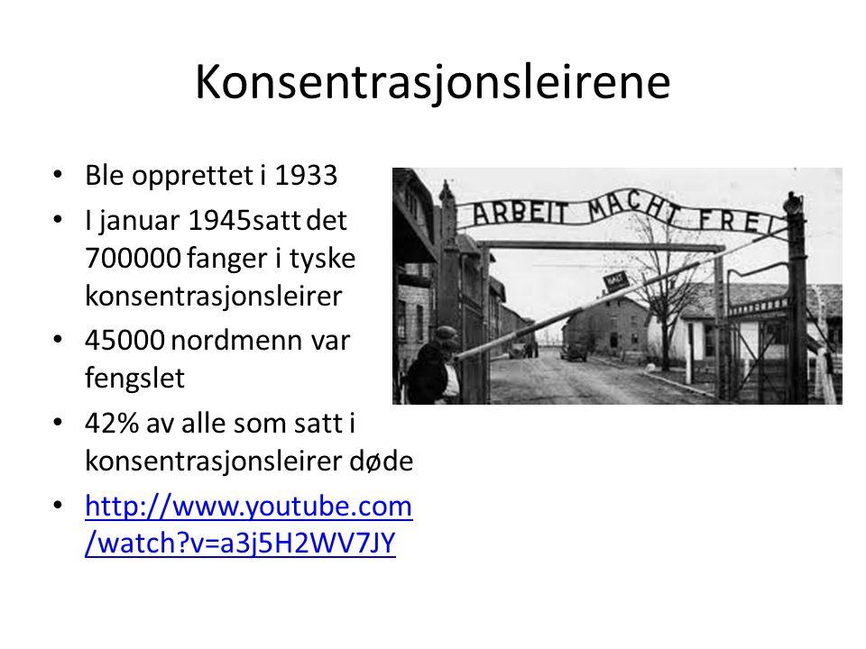 Konsentrasjonsleirene Ble opprettet i 1933 I januar 1945satt det 700000 fanger i tyske konsentrasjonsleirer 45000 nordmenn var fengslet 42% av alle som satt i konsentrasjonsleirer døde http://www.youtube.com /watch v=a3j5H2WV7JY http://www.youtube.com /watch v=a3j5H2WV7JY