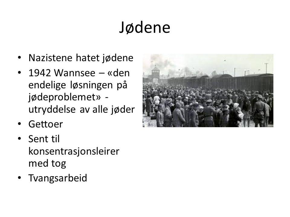 Jødene Nazistene hatet jødene 1942 Wannsee – «den endelige løsningen på jødeproblemet» - utryddelse av alle jøder Gettoer Sent til konsentrasjonsleirer med tog Tvangsarbeid