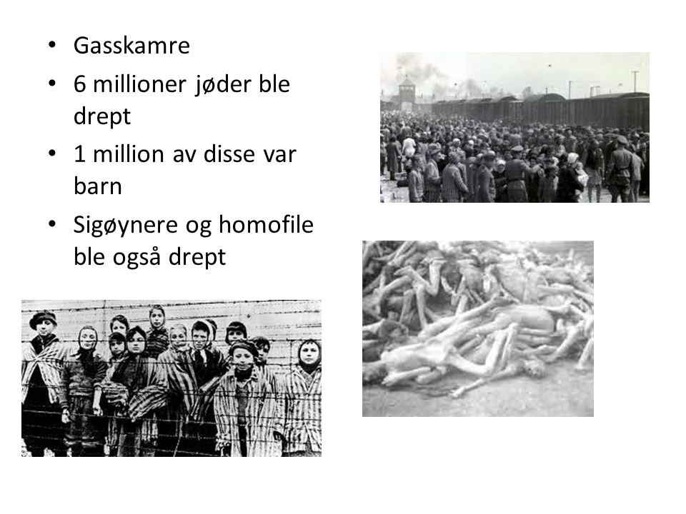 De norske jødene I 1940 bodde det 1500 jøder i Norge I 1942 ble 767 arrestert og sent til Auschwitz 28 overlevde Resten av jødene flyktet til Sverige http://www.youtube.co m/watch?v=lmaesGiVT5 k http://www.youtube.co m/watch?v=lmaesGiVT5 k