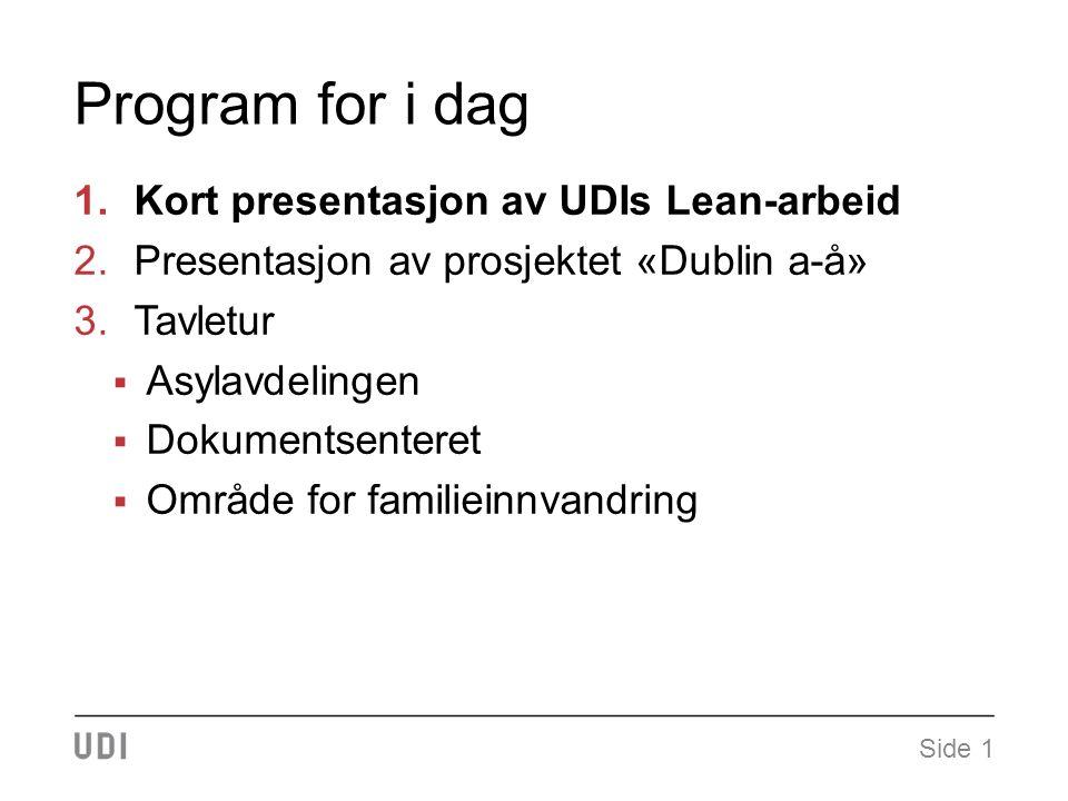Program for i dag 1.Kort presentasjon av UDIs Lean-arbeid 2.Presentasjon av prosjektet «Dublin a-å» 3.Tavletur  Asylavdelingen  Dokumentsenteret  Område for familieinnvandring Side 1