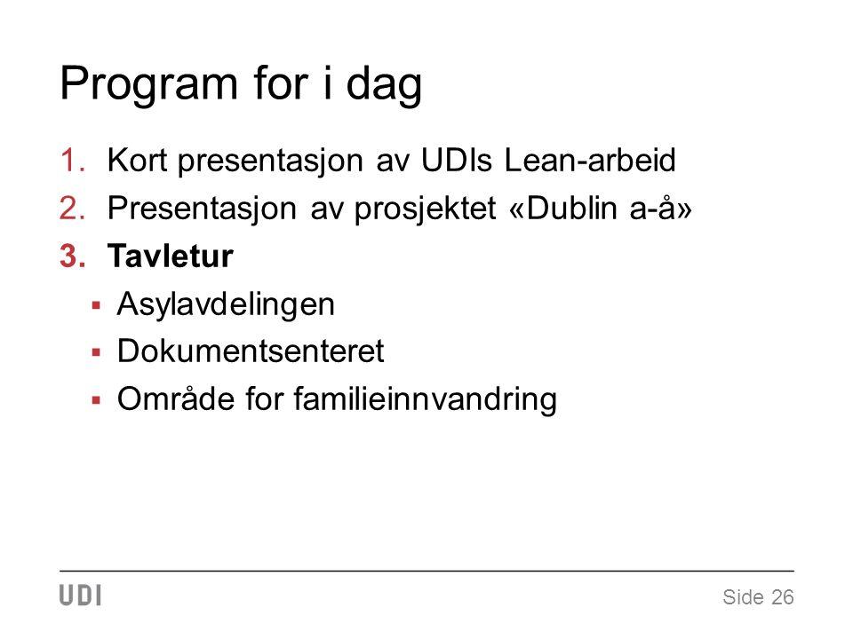 Program for i dag 1.Kort presentasjon av UDIs Lean-arbeid 2.Presentasjon av prosjektet «Dublin a-å» 3.Tavletur  Asylavdelingen  Dokumentsenteret  Område for familieinnvandring Side 26