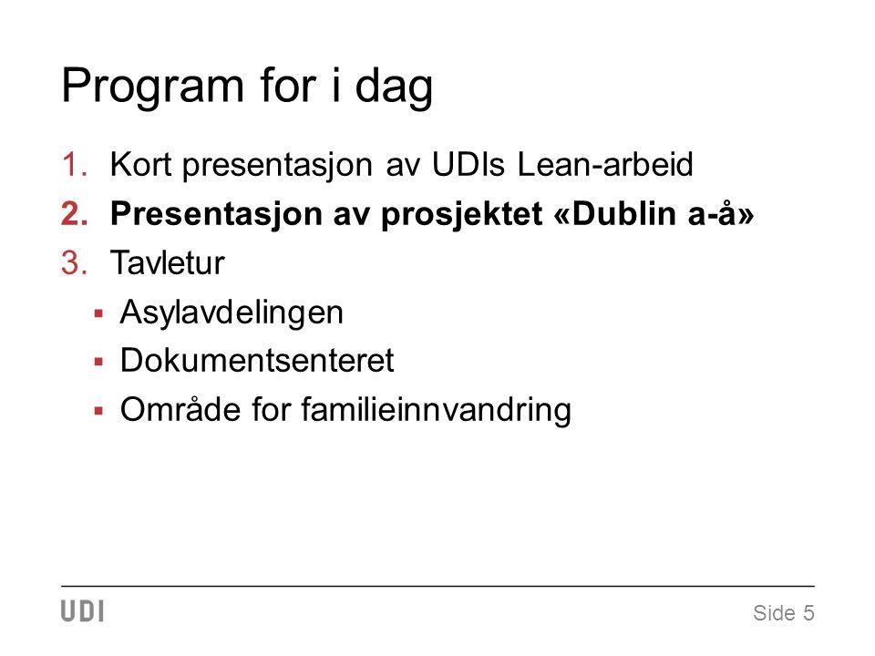 Program for i dag 1.Kort presentasjon av UDIs Lean-arbeid 2.Presentasjon av prosjektet «Dublin a-å» 3.Tavletur  Asylavdelingen  Dokumentsenteret  Område for familieinnvandring Side 5