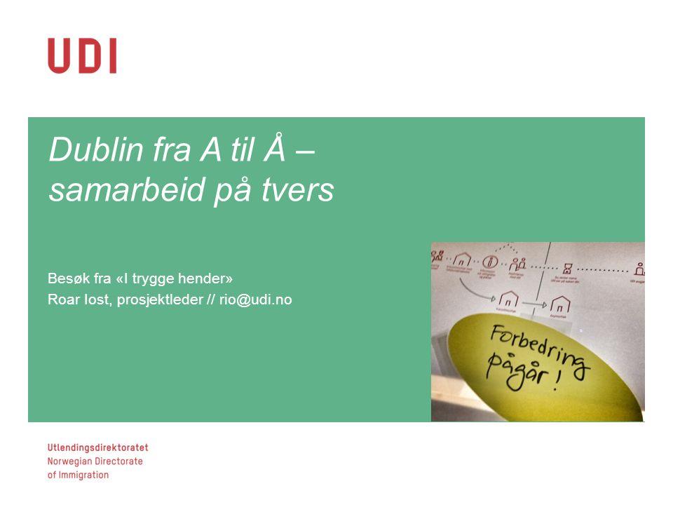 Dublin fra A til Å – samarbeid på tvers Besøk fra «I trygge hender» Roar Iost, prosjektleder // rio@udi.no Side 6Side 6