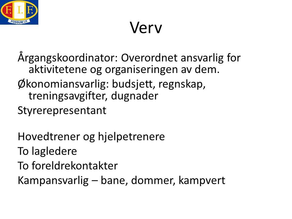 Verv Årgangskoordinator: Overordnet ansvarlig for aktivitetene og organiseringen av dem. Økonomiansvarlig: budsjett, regnskap, treningsavgifter, dugna