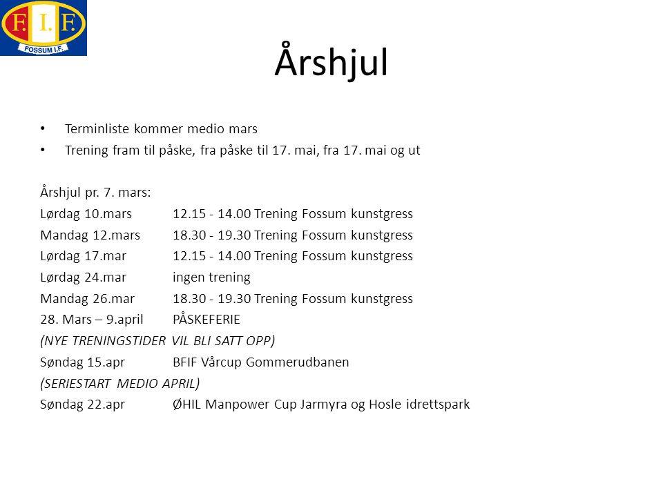 Årshjul Terminliste kommer medio mars Trening fram til påske, fra påske til 17. mai, fra 17. mai og ut Årshjul pr. 7. mars: Lørdag 10.mars 12.15 - 14.