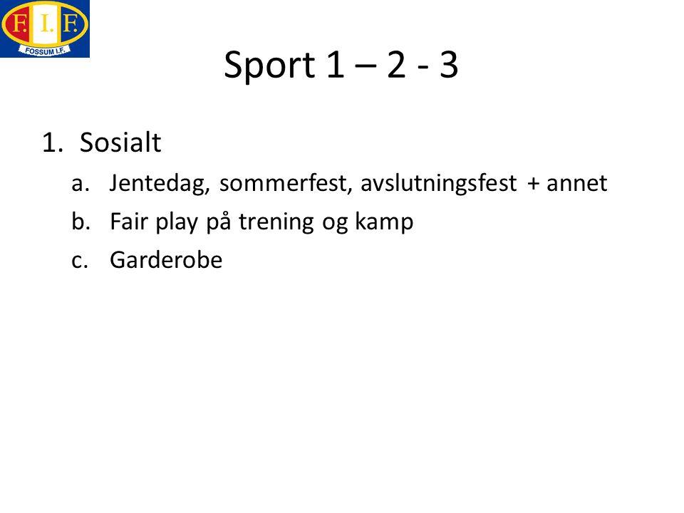 Sport 1 – 2 - 3 1.Sosialt a.Jentedag, sommerfest, avslutningsfest + annet b.Fair play på trening og kamp c.Garderobe