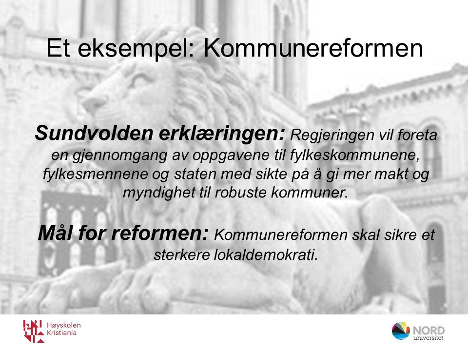 Sundvolden erklæringen: Regjeringen vil foreta en gjennomgang av oppgavene til fylkeskommunene, fylkesmennene og staten med sikte på å gi mer makt og myndighet til robuste kommuner.