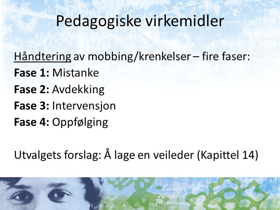 Pedagogiske virkemidler Håndtering av mobbing/krenkelser – fire faser: Fase 1: Mistanke Fase 2: Avdekking Fase 3: Intervensjon Fase 4: Oppfølging Utva