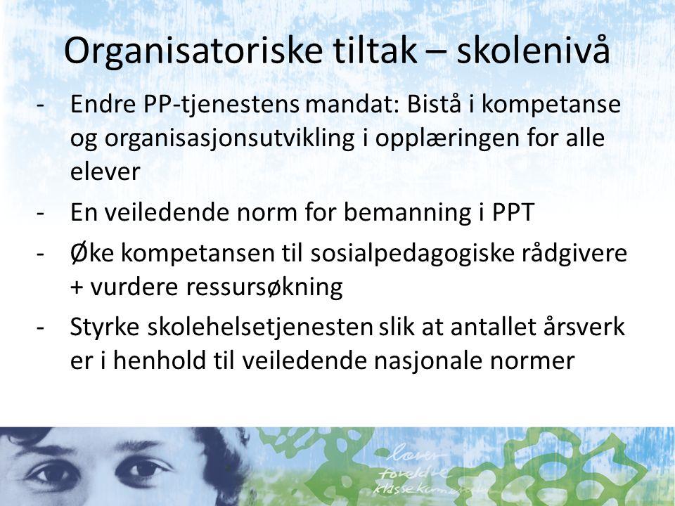 Organisatoriske tiltak – skolenivå -Endre PP-tjenestens mandat: Bistå i kompetanse og organisasjonsutvikling i opplæringen for alle elever -En veilede