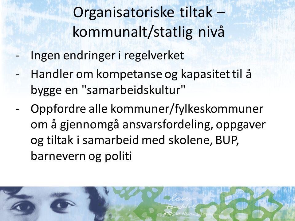 Organisatoriske tiltak – kommunalt/statlig nivå -Ingen endringer i regelverket -Handler om kompetanse og kapasitet til å bygge en