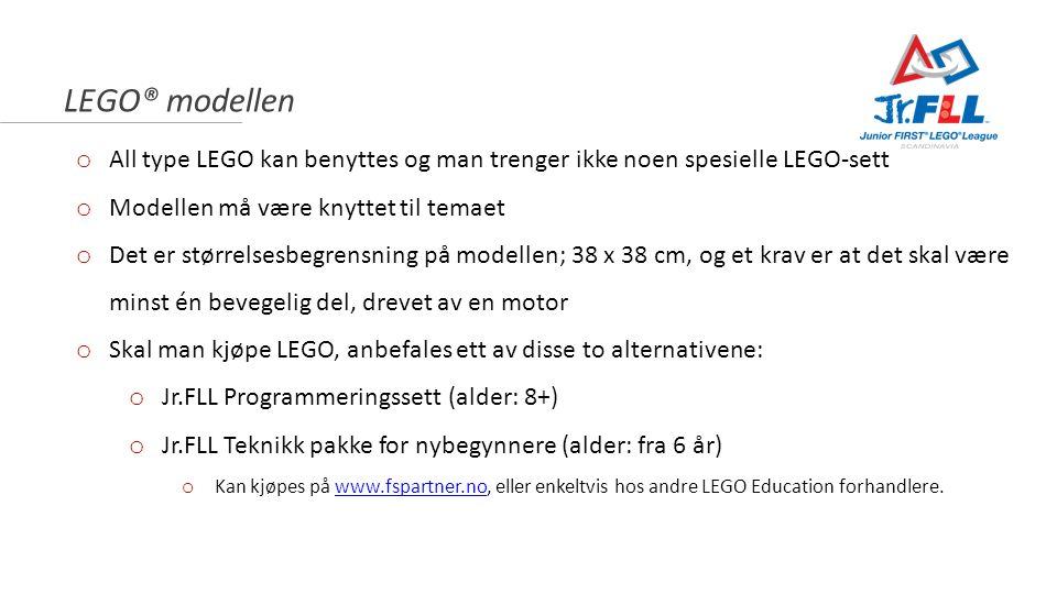 LEGO® modellen o All type LEGO kan benyttes og man trenger ikke noen spesielle LEGO-sett o Modellen må være knyttet til temaet o Det er størrelsesbegr