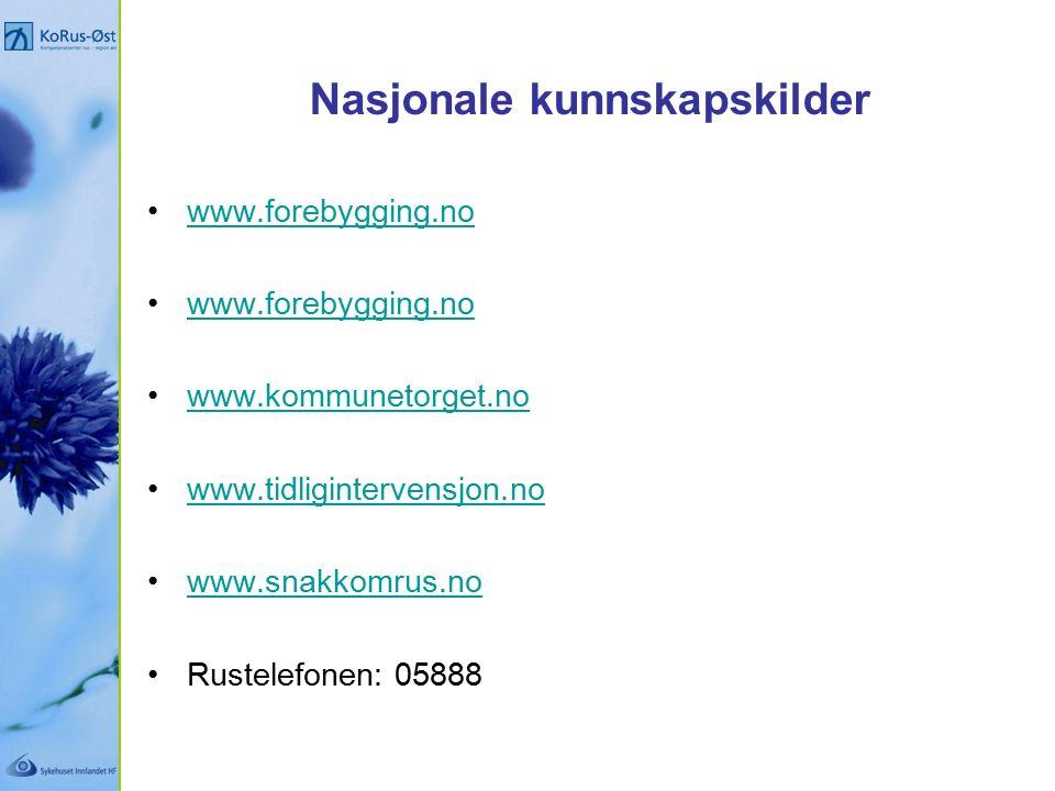 Nasjonale kunnskapskilder www.forebygging.no www.kommunetorget.no www.tidligintervensjon.no www.snakkomrus.no Rustelefonen: 05888