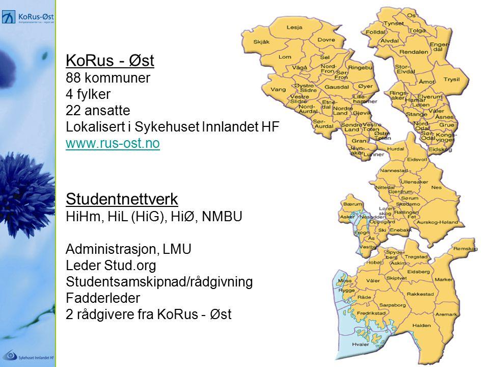 KoRus - Øst 88 kommuner 4 fylker 22 ansatte Lokalisert i Sykehuset Innlandet HF www.rus-ost.no Studentnettverk HiHm, HiL (HiG), HiØ, NMBU Administrasjon, LMU Leder Stud.org Studentsamskipnad/rådgivning Fadderleder 2 rådgivere fra KoRus - Øst