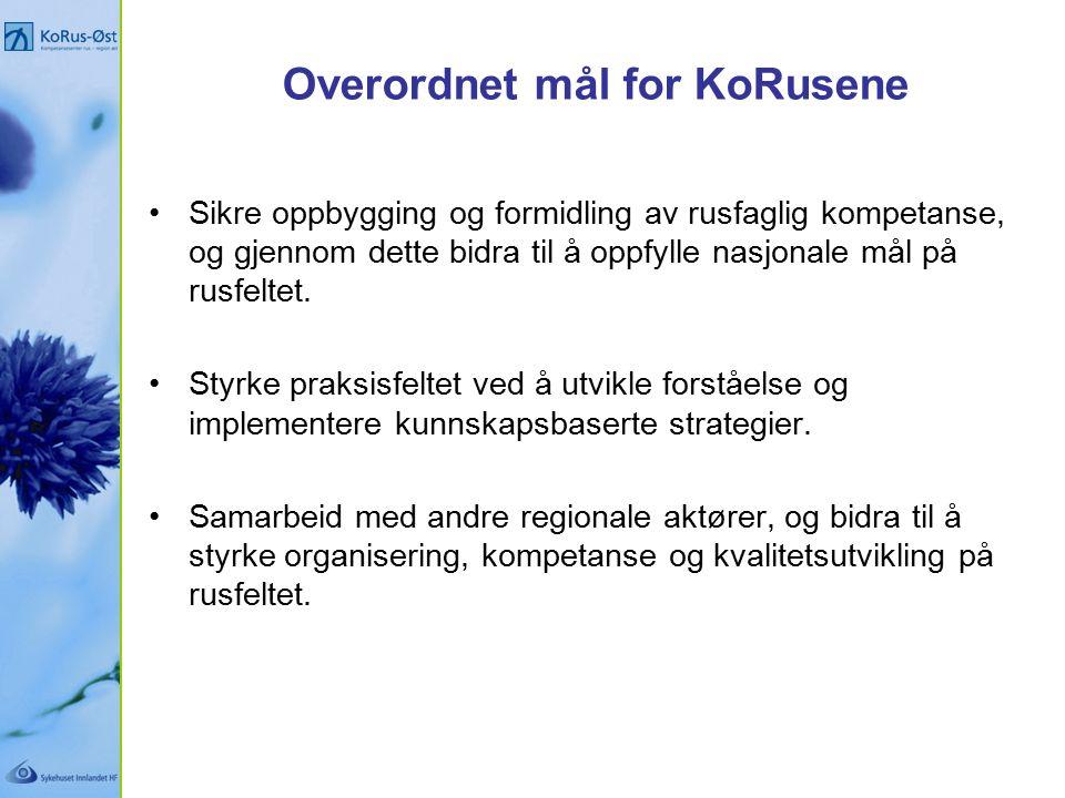 Hovedsatsningsområder ved KoRusene Rusforebygging / folkehelsearbeid - inkl.