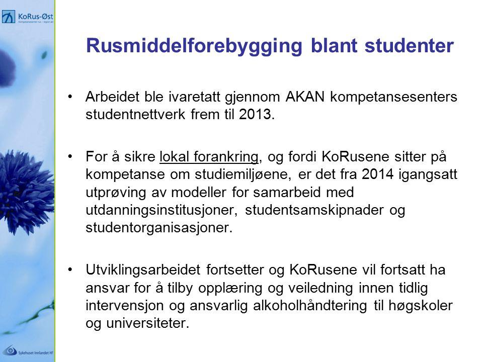 Rusmiddelforebygging blant studenter Arbeidet ble ivaretatt gjennom AKAN kompetansesenters studentnettverk frem til 2013.