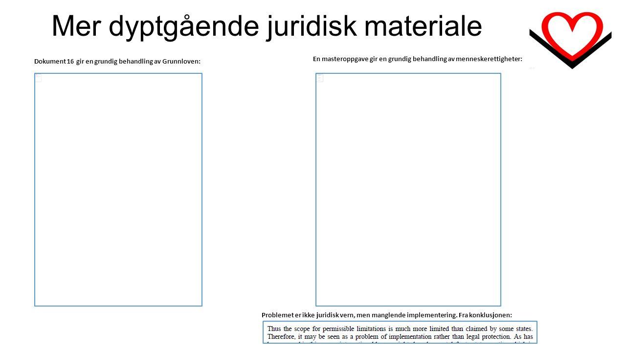 Mer dyptgående juridisk materiale Dokument 16 gir en grundig behandling av Grunnloven: En masteroppgave gir en grundig behandling av menneskerettigheter: Problemet er ikke juridisk vern, men manglende implementering.