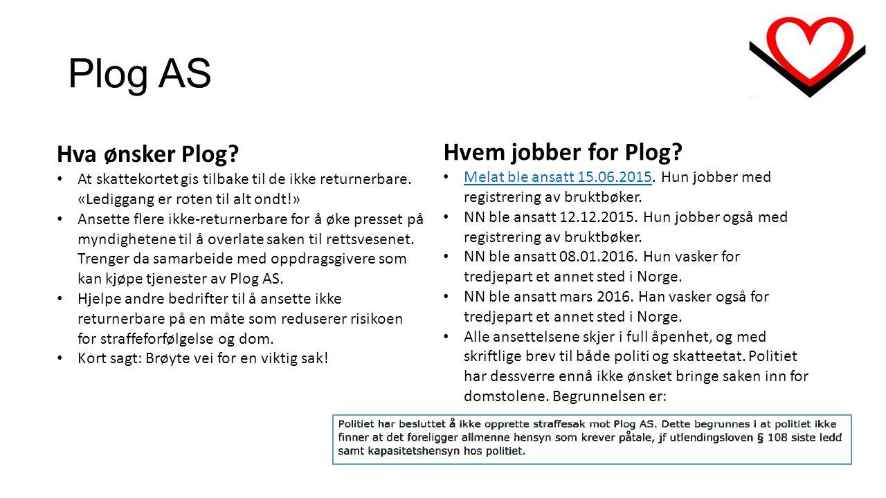 Plog AS Hvem jobber for Plog. Melat ble ansatt 15.06.2015.
