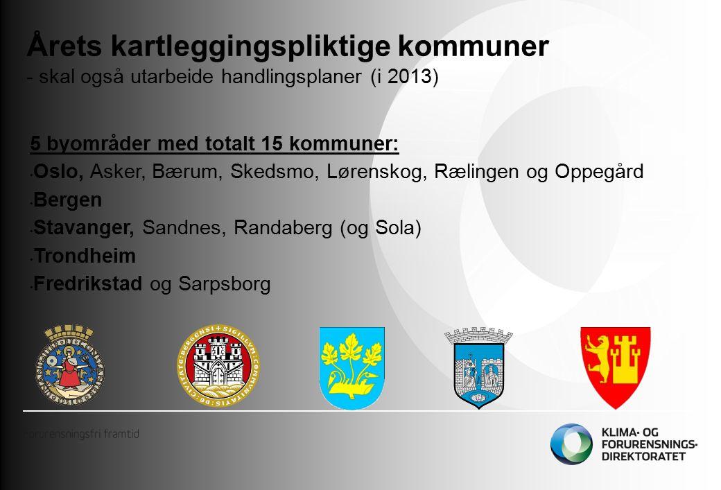 Årets kartleggingspliktige kommuner - skal også utarbeide handlingsplaner (i 2013) 5 byområder med totalt 15 kommuner: Oslo, Asker, Bærum, Skedsmo, Lørenskog, Rælingen og Oppegård Bergen Stavanger, Sandnes, Randaberg (og Sola) Trondheim Fredrikstad og Sarpsborg