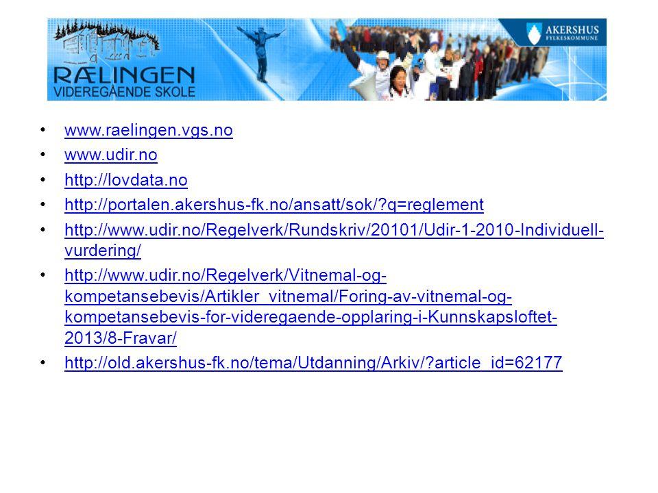 www.raelingen.vgs.no www.udir.no http://lovdata.no http://portalen.akershus-fk.no/ansatt/sok/?q=reglement http://www.udir.no/Regelverk/Rundskriv/20101/Udir-1-2010-Individuell- vurdering/http://www.udir.no/Regelverk/Rundskriv/20101/Udir-1-2010-Individuell- vurdering/ http://www.udir.no/Regelverk/Vitnemal-og- kompetansebevis/Artikler_vitnemal/Foring-av-vitnemal-og- kompetansebevis-for-videregaende-opplaring-i-Kunnskapsloftet- 2013/8-Fravar/http://www.udir.no/Regelverk/Vitnemal-og- kompetansebevis/Artikler_vitnemal/Foring-av-vitnemal-og- kompetansebevis-for-videregaende-opplaring-i-Kunnskapsloftet- 2013/8-Fravar/ http://old.akershus-fk.no/tema/Utdanning/Arkiv/?article_id=62177