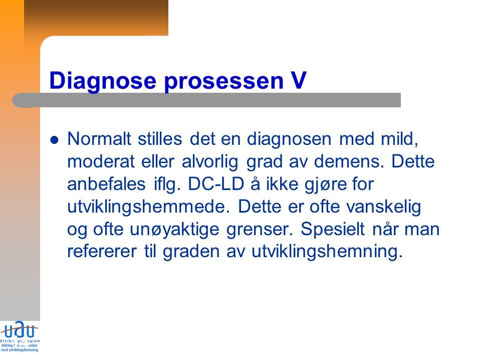 14 Diagnose prosessen V Normalt stilles det en diagnosen med mild, moderat eller alvorlig grad av demens.