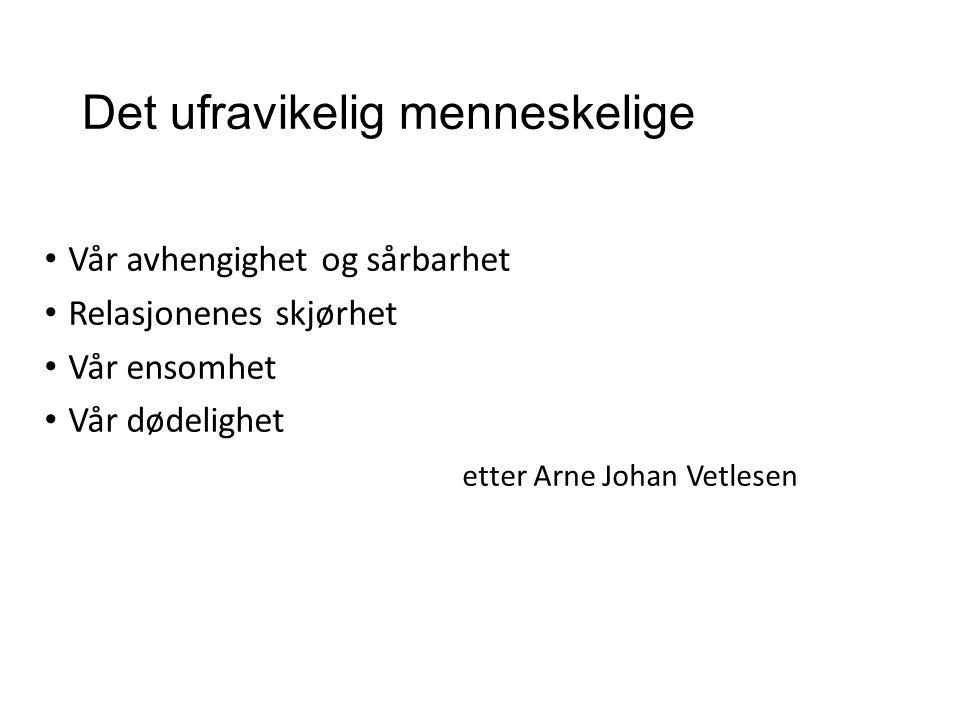 Det ufravikelig menneskelige Vår avhengighet og sårbarhet Relasjonenes skjørhet Vår ensomhet Vår dødelighet etter Arne Johan Vetlesen