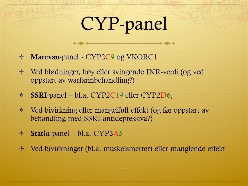CYP-panel  Marevan -panel - CYP2C9 og VKORC1  Ved blødninger, høy eller svingende INR-verdi (og ved oppstart av warfarinbehandling?)  SSRI -panel – bl.a.