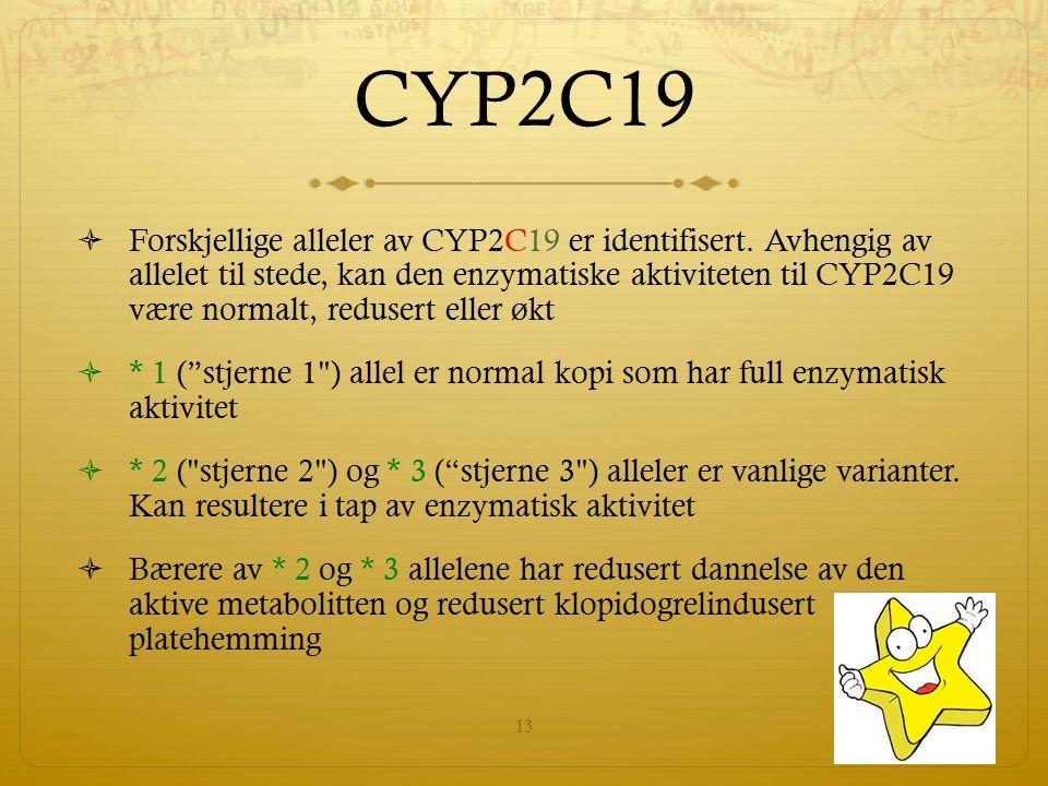 CYP2C19  Forskjellige alleler av CYP2C19 er identifisert.