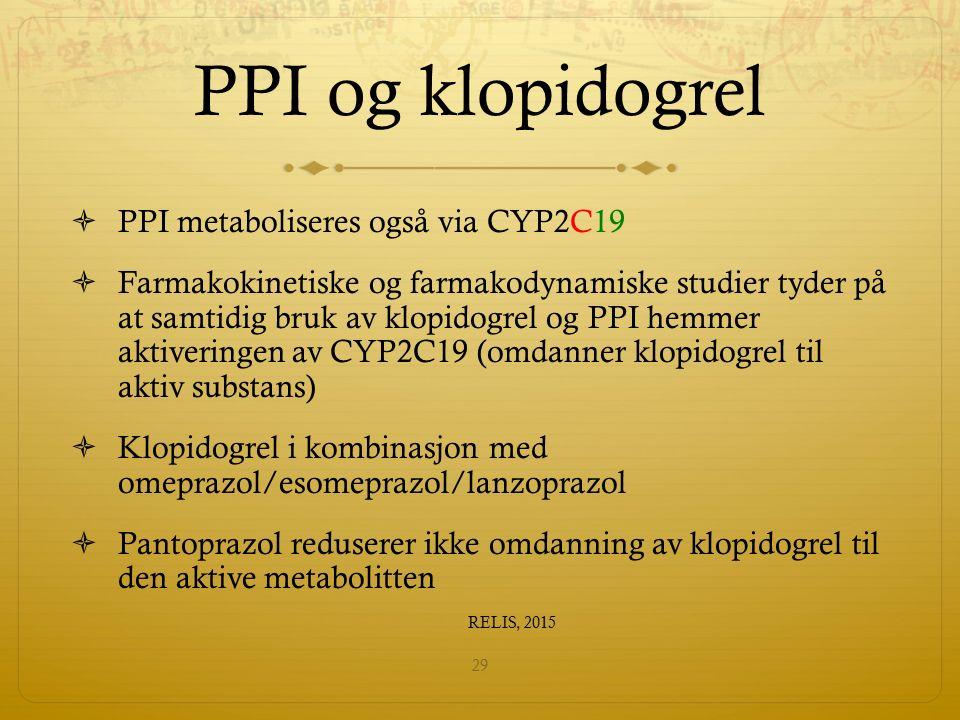 PPI og klopidogrel  PPI metaboliseres også via CYP2C19  Farmakokinetiske og farmakodynamiske studier tyder på at samtidig bruk av klopidogrel og PPI hemmer aktiveringen av CYP2C19 (omdanner klopidogrel til aktiv substans)  Klopidogrel i kombinasjon med omeprazol/esomeprazol/lanzoprazol  Pantoprazol reduserer ikke omdanning av klopidogrel til den aktive metabolitten RELIS, 2015 29
