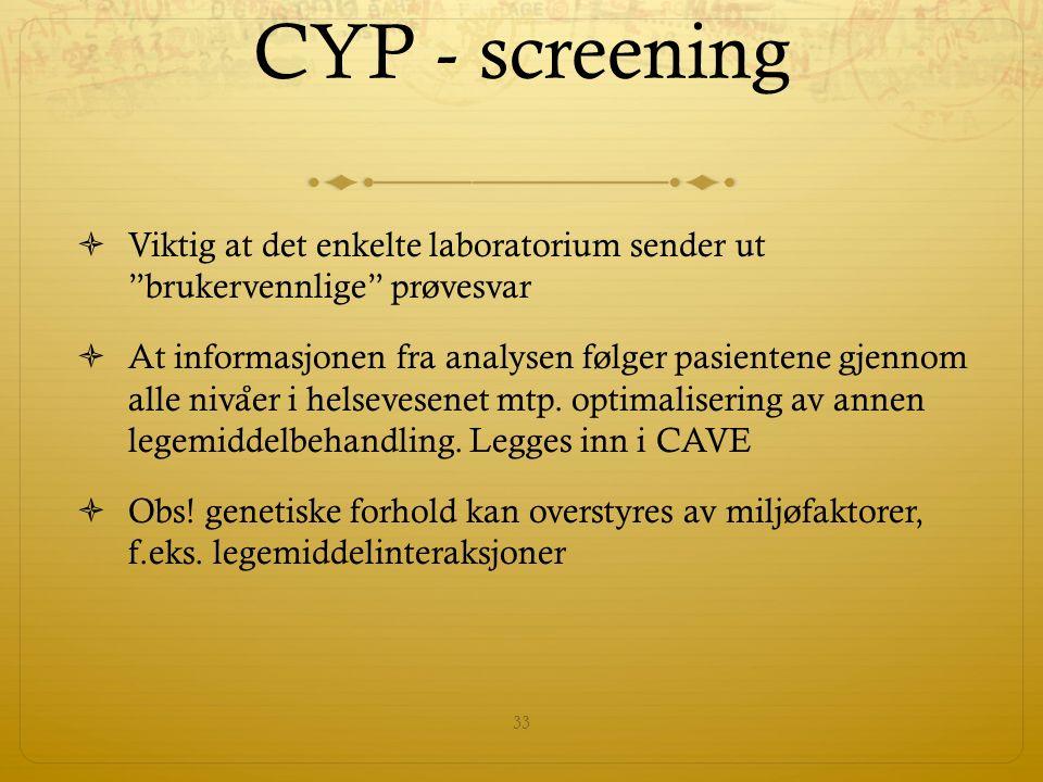 CYP - screening  Viktig at det enkelte laboratorium sender ut brukervennlige prøvesvar  At informasjonen fra analysen følger pasientene gjennom alle niva ̊ er i helsevesenet mtp.
